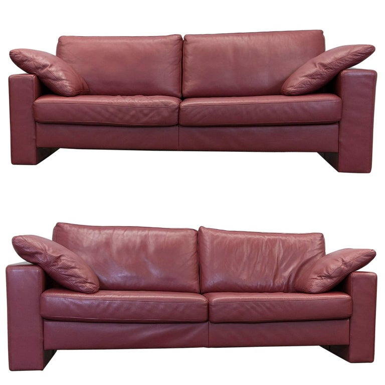 ewald schillig designer two seater couch set leather red. Black Bedroom Furniture Sets. Home Design Ideas