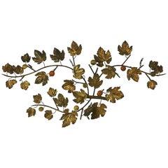 Italian Gilt Leaf Sconce with Stone Fruit
