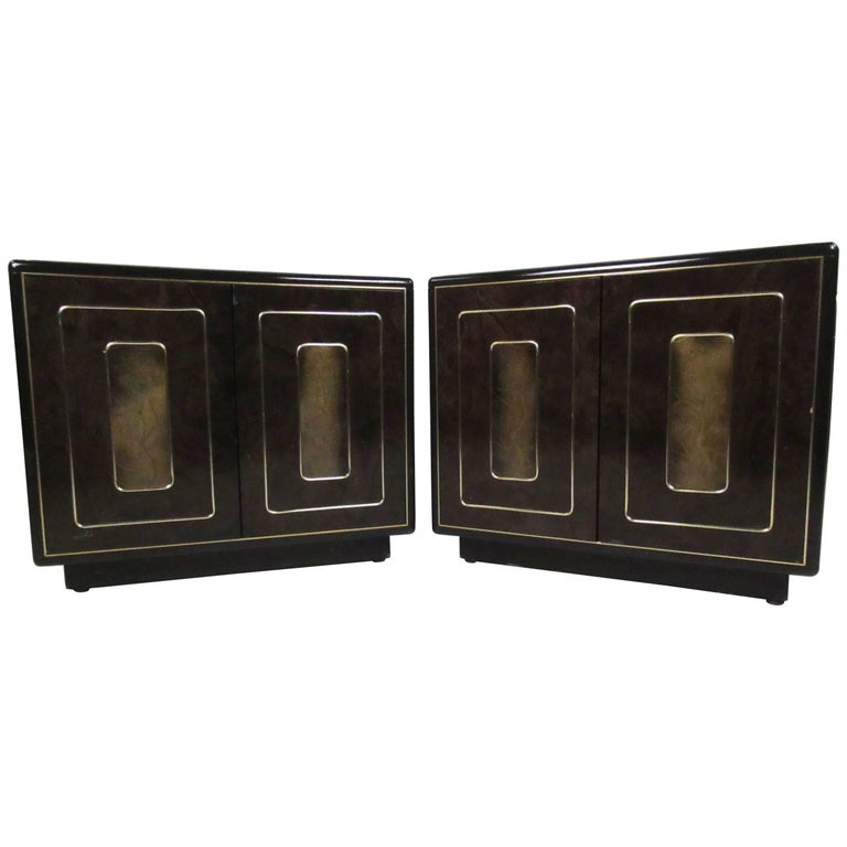 Pair of Vintage Brass and Burl Nightstands by Bernhard Rohne