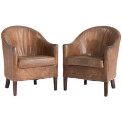 Pair of Leather Armchairs, circa 1930