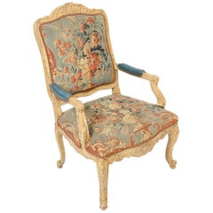 Louis XV Style Painted Armchair Upholstered in Antique Tapestry