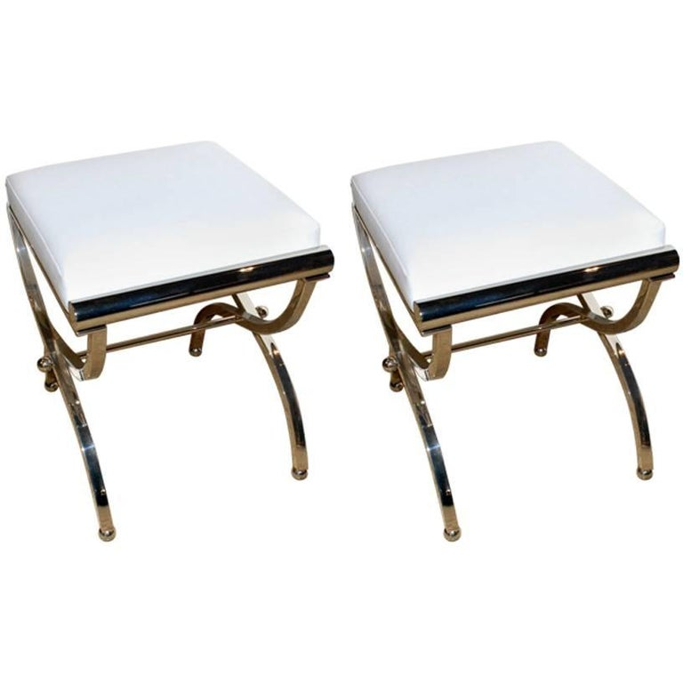 "Charles Hollis Jones 1961 Pair of Original ""Empire"" Style Benches For Sale"