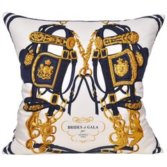 Large Vintage Hermes Gold Equestrian Silk Scarf and Irish Linen Cushion Pillow