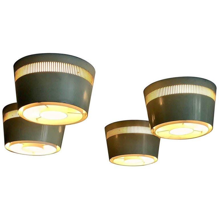 Set of Four Ceiling Lights by Itsu, Finland, 1950s