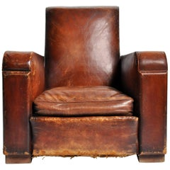 Art Deco French Leather Club Chair with Original Patina