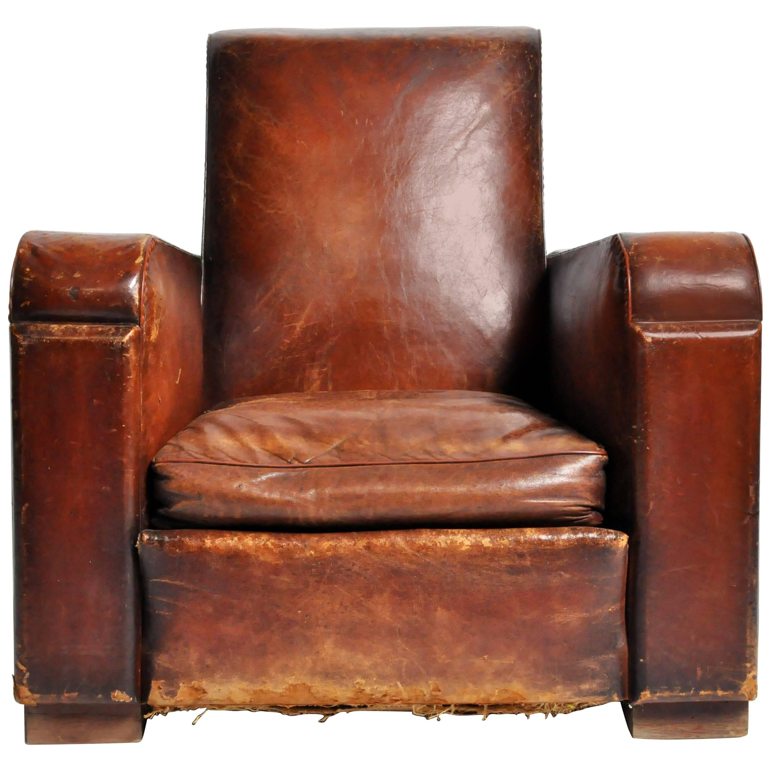 Art Deco French Leather Club Chair With Original Patina For Sale