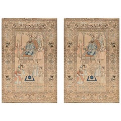 Pair of 19th Century Kerman Pictorial Carpet