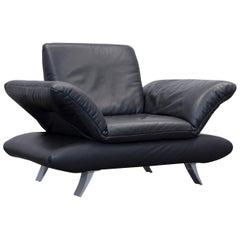Koinor Rossini Designer Leather Armchair & Footstool Set Black Leather Function