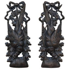 Pair of 19th Century Game Black Forest Carvings