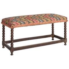 Turned Leg Upholstered Bench, circa 1910