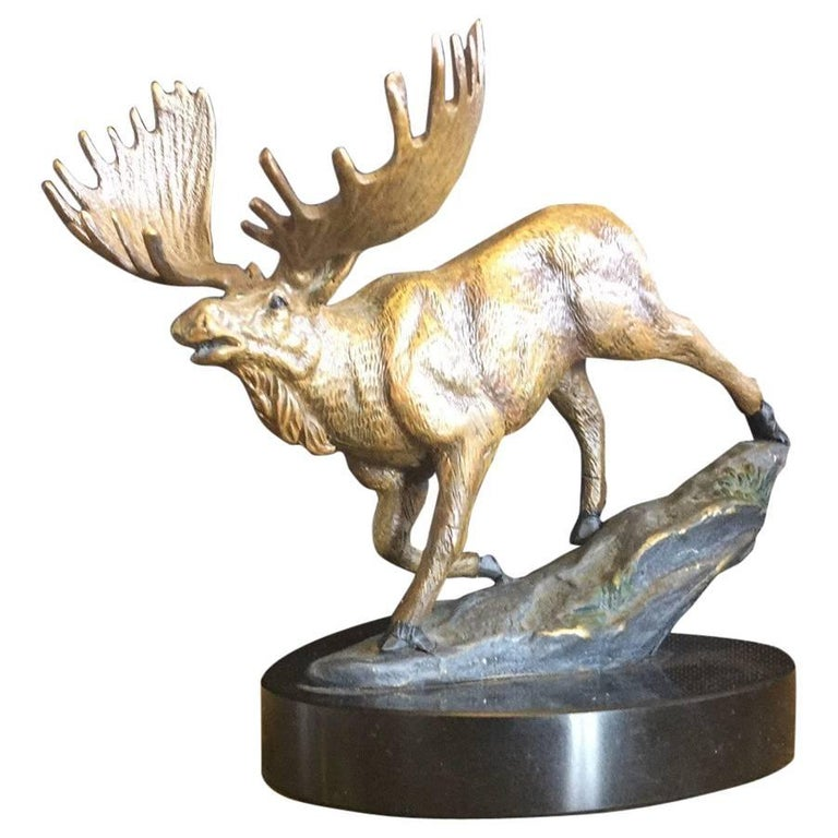Bronze Painted Moose Sculpture on Marble Base