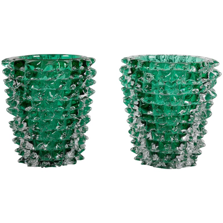 Pair of Murano Green Iridescent Glass Vases Signed Pino Signoretto For Sale