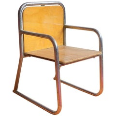 Tubular Children Chair, Wood and Chrome, circa 1965