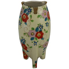 Japanese Art Deco Lusterware Vase Floral with Gold Accent, circa 1930s-1940s