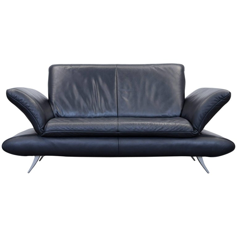 Koinor Rossini Designer Leather Two-Seat Sofa Black Leather Function