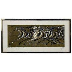 Mid-Century Modern Tadashi Nakayama Japanese Woodblock Print, 1968