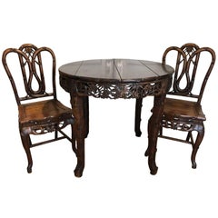 Chinese Rosewood Table Pair of Chairs, Bamboo Carving, Qing Dynasty