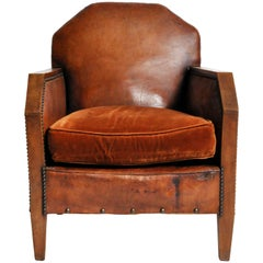 French Art Deco Leather Club Chairs with Walnut Arms