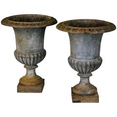 19th century Cast iron French urns