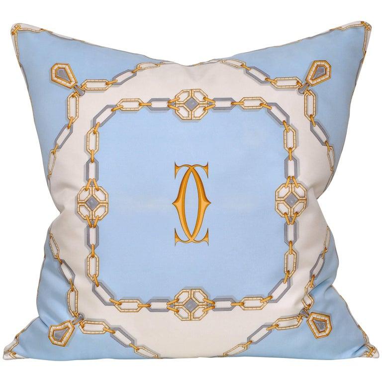 Vintage Cartier Jewelry Diamond Silk Scarf with Irish Linen Cushion Pillow