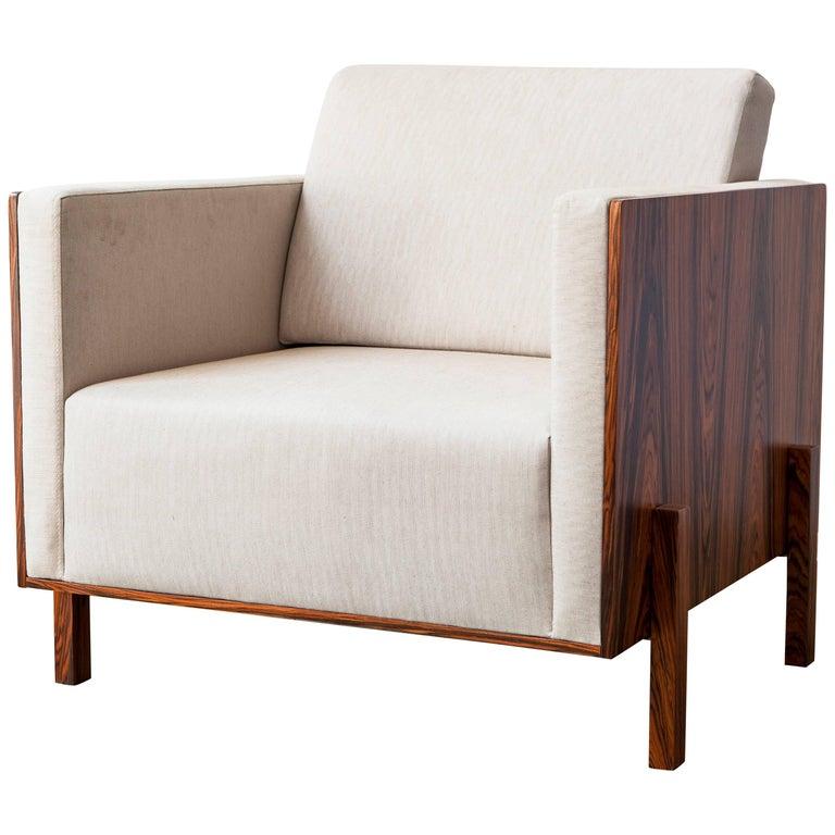 """Lina"" Minimalist Armchair in Pau Ferro Brazilian Wood and Handwoven Work For Sale"