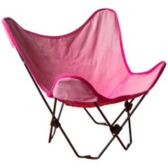 1960, Hardoy, Ferrari, Black Foldable Children Butterfly Chair with Pink Cover