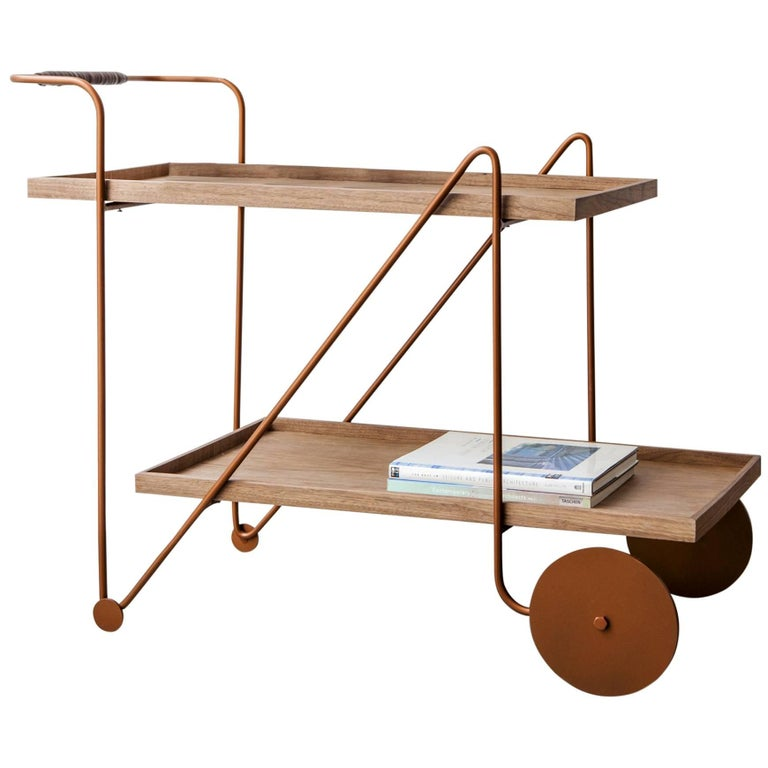 """""""Jorge"""" Bar Cart Modernist Style Cooper Color Painted Steel and Walnut Woodwork For Sale"""