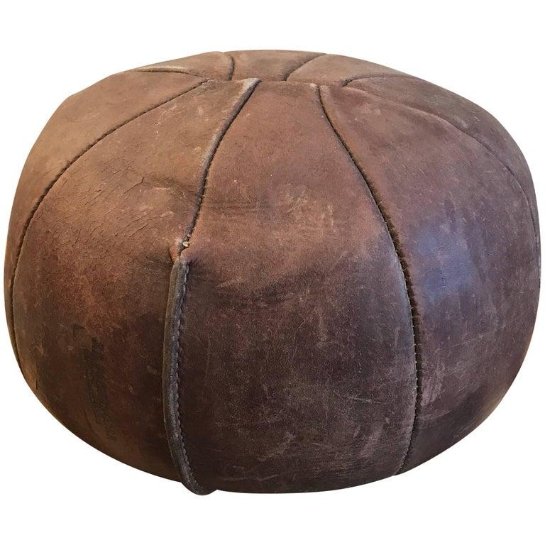 Vintage Leather Medicine Ball J. E. Porter Corp, 1950s 1