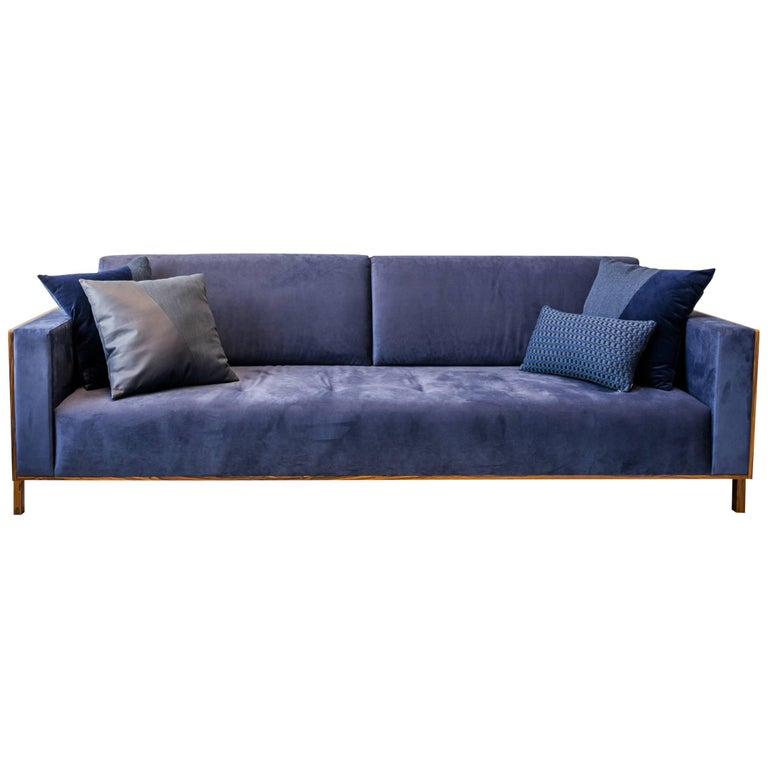 """Lina"" Sofa Minimalist Style in Blue Velvet and Pau Ferro Brazilian Wood"