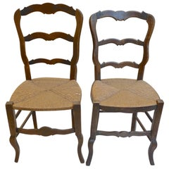 French 19th Century Louis XV Ladder Back Side Chairs with Rush Seats
