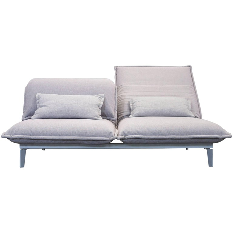 rolf benz nova designer sofa grey rose lilac fabric two seat function couch at 1stdibs. Black Bedroom Furniture Sets. Home Design Ideas