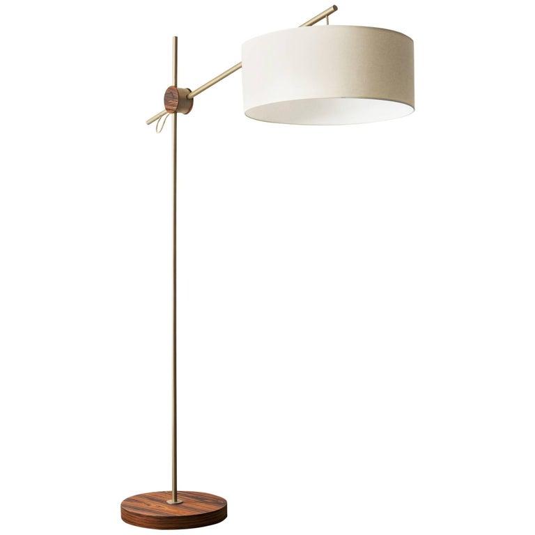 """""""Rotula"""" Minimalist Style Floor Lamp in Painted Steel and Pau Ferro Hardwood"""
