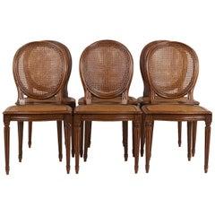 Set of Six Louis XVI Cane Chairs with Cameo Backs FA-1115