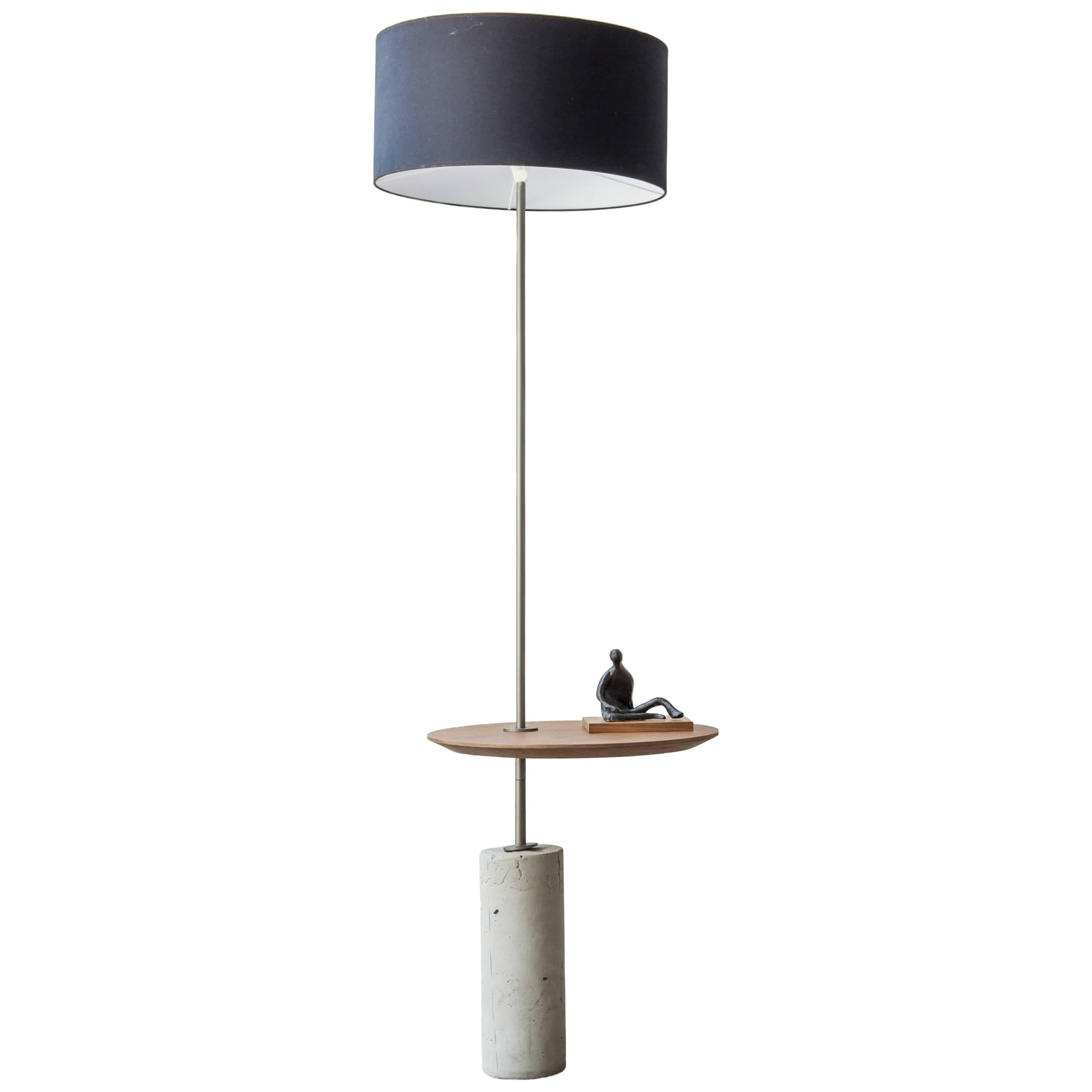 Giro Minimalist Floor Lamp In Painted Steel, Walnut And Concrete
