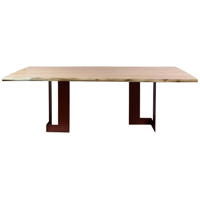 """Planos"" Minimalist Style Dining Table in Solid Wood  For Sale"
