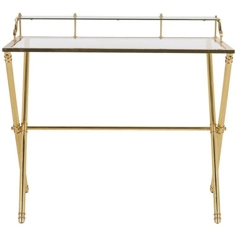 Mid-Century Modern Brass and Glass Desk