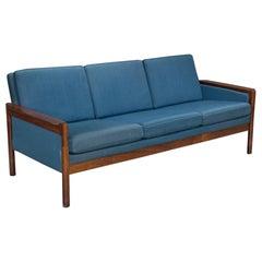 Three-Seat Danish Modern Rosewood Sofa with Blue Textile