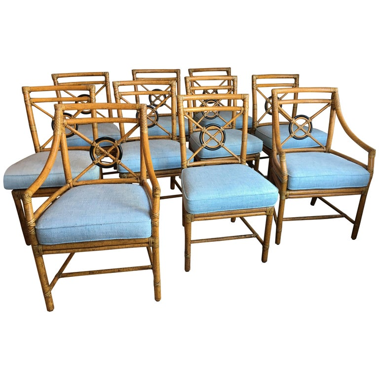 Target Dining Room Furniture: Set Of Ten 'Target' Rattan Dining Chairs By McGuire At 1stdibs