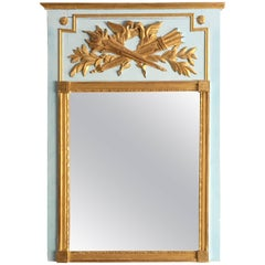 Louis XVI Style Painted and Parcel-Gilt Trumeau Mirror, Late 19th Century