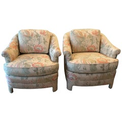 Pair of Vintage Club Tropical Birds Lounge Armchairs Arm Chairs Chinoiserie