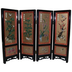 Chinese Black Lacquer Carved Jade and Stone Floral Shadow Box Table Screen