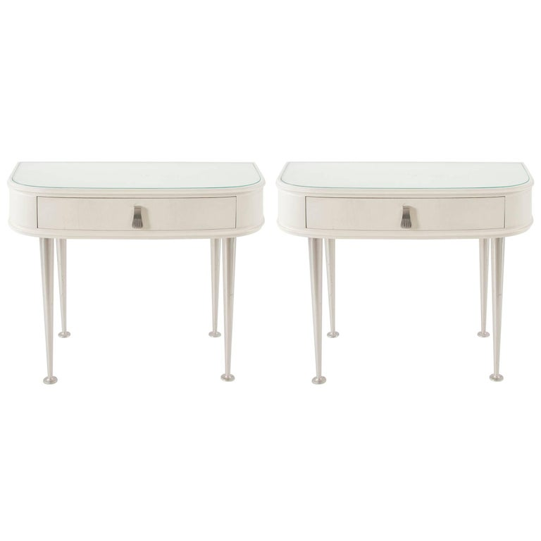 Pair of White Midcentury Night Stands, Italy, 1950s