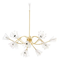Large Emil Stejnar Brass and Crystals Chandelier, Nikoll, Austria, 1950s