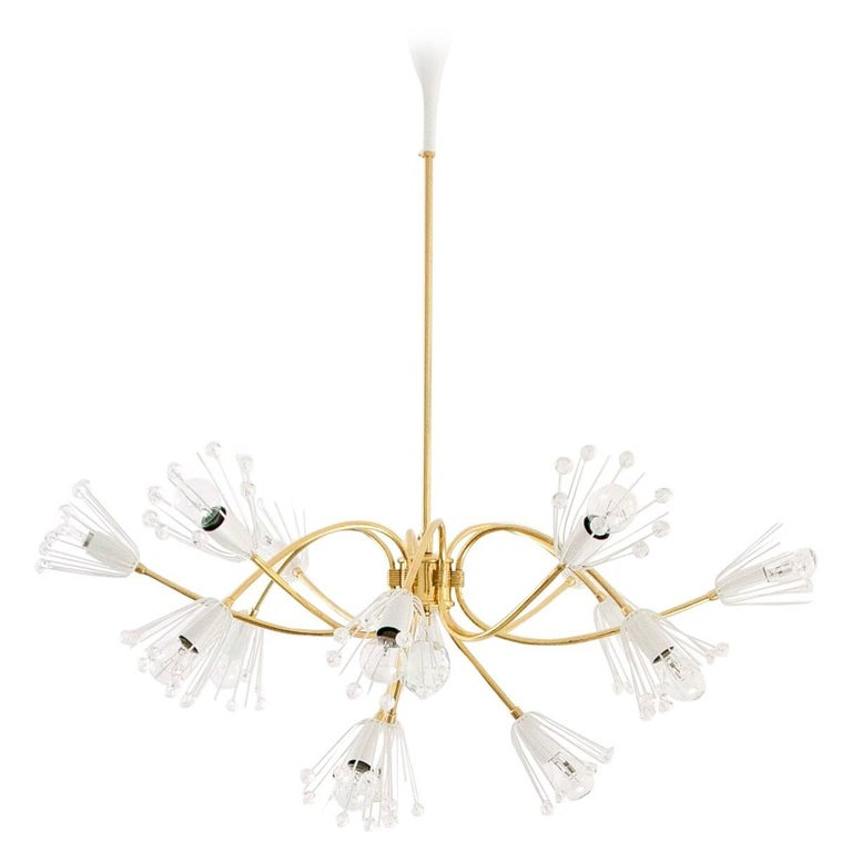 Large Emil Stejnar Brass and Crystals Chandelier, Nikoll, Austria, 1950s For Sale
