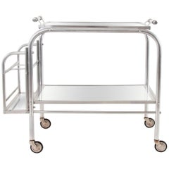 Art Deco Serving Bar Cart with Mirror Tray, Jacques Adnet Attributed, France