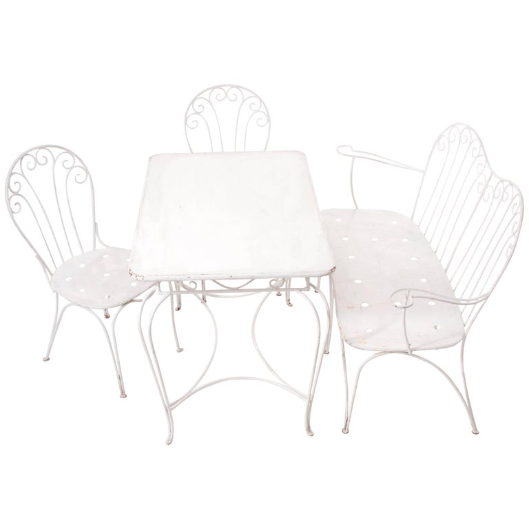 White Midcentury Garden Bench, Table and Chairs, Iron, Karasek, Austria, 1950s For Sale