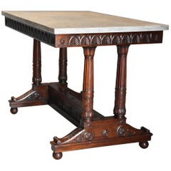 Rare French Empire Oblong Centre Table with Marble Top, Stamped 'JACOB'
