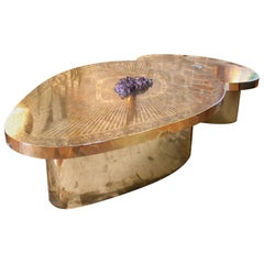 Double Coffee Table Irisha, Etched Brass, Amethyst and Agate by Jean Arriau