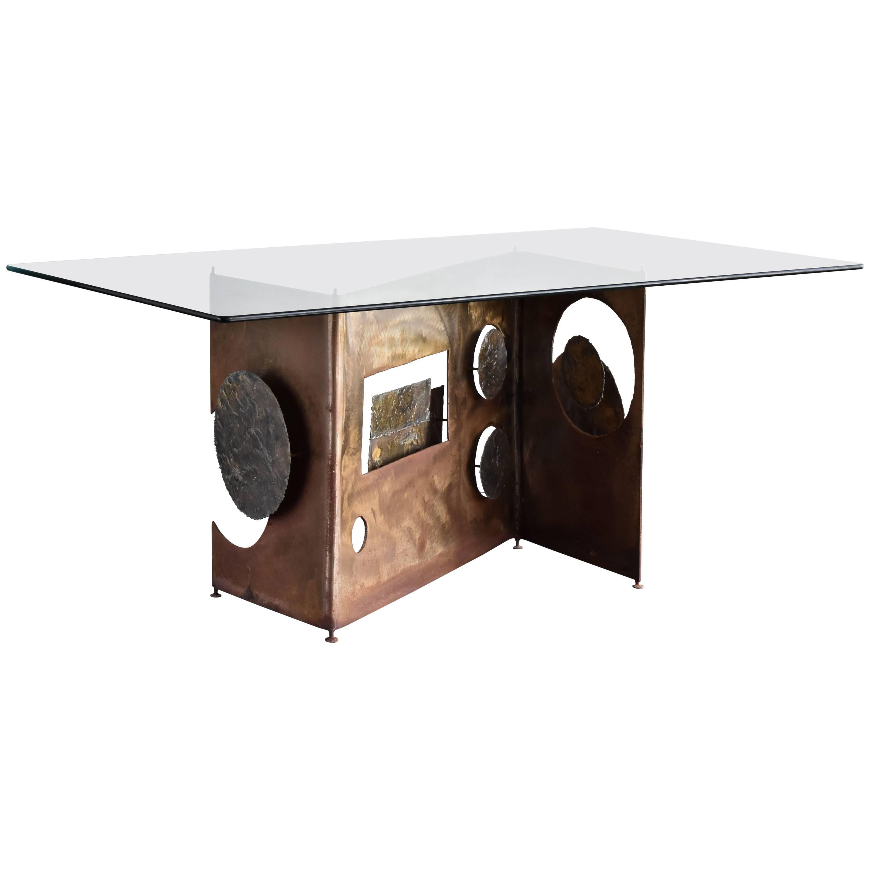 Silas Seandel, Signed Handcrafted Brutalist Console/Table Bronze, Steel 1970s