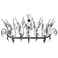 Italian Venetian blown Murano Glass Chandelier beam, total Black & White, 1990s
